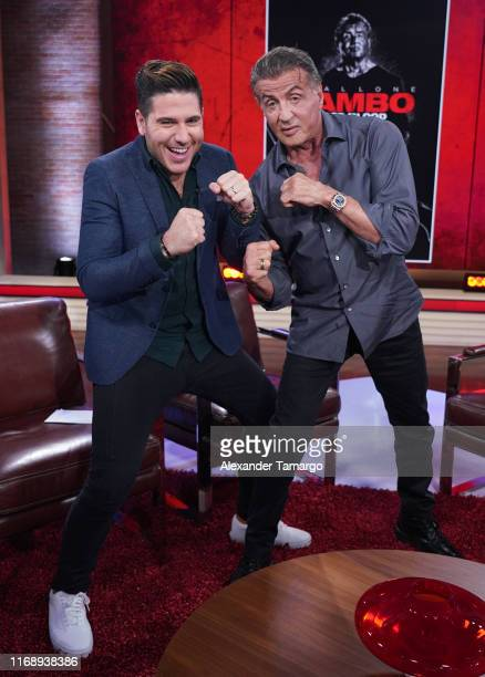 Chef James and Sylvester Stallone are seen on the set of Un Nuevo Dia at Telemundo Center to promote the film Rambo Last Blood on September 17 2019...