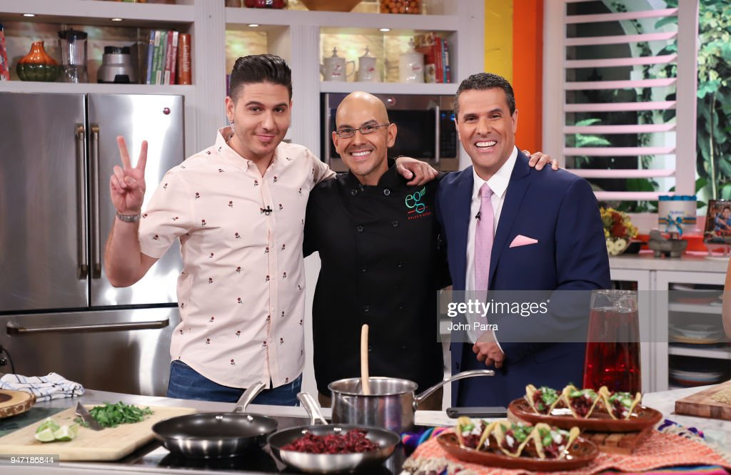 Chef James, Chef Eddie Garza and Marco Antonio Regil are seen at Telemundo's 'Un Nuevo Dia' on April 16, 2018 in Miami, Florida.