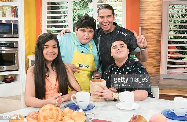 Chef James Christopher Rivera Winner of 'La Voz Kids' and Axel Cabrera Alejandra Gallardo finalist attend 'Un Nuevo Dia' at Telemundo Studio on July...