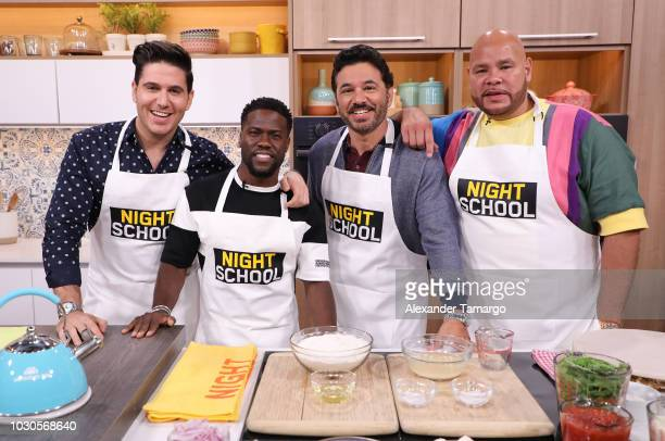 Chef James Kevin Hart Al Madrigal and Fat Joe are seen on the set of Telemundo's 'Un Nuevo Dia' morning show on September 10 2018 in Miami Florida