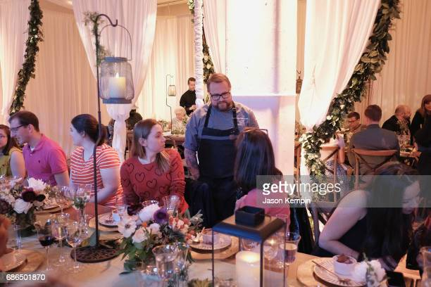 Chef Jamie Bissonnette greets guests at the TNT Supper Club Will Dinner event during TNT at Vulture Festival at West Edge on May 21 2017 in New York...