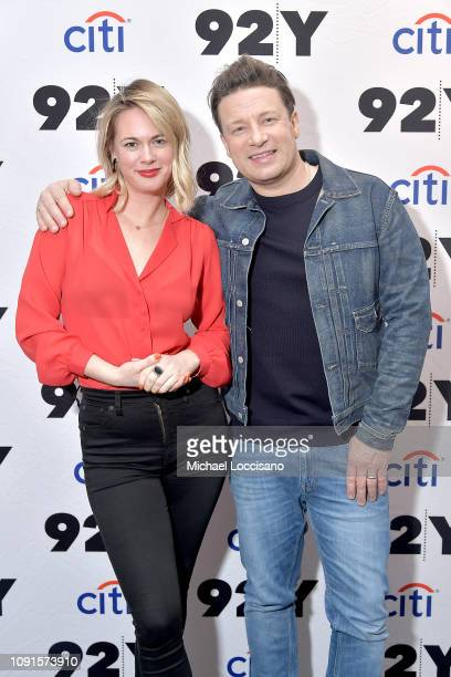 Chef Jamie Oliver and writer and moderator Alison Roman pose before discussing Oliver's new cookbook 5 Ingredients Quick And Easy Food at 92nd Street...