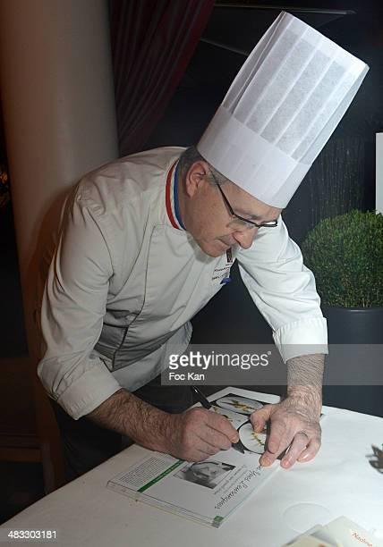 Chef Jean Yves Leuranguer attends 'La Route Des Saveurs Les Secrets Des Grands Chefs Etoiles' Nadine Rodd's Launch Book At the Restaurant Le Diane in...