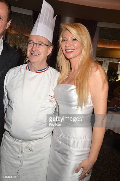 Chef JeanYves Leuranguer and Nadine Rodd attend the Nadine Rodd Wedding Cocktail Party at Salon Diane at the Fouquet's on February 27 2012 in Paris...