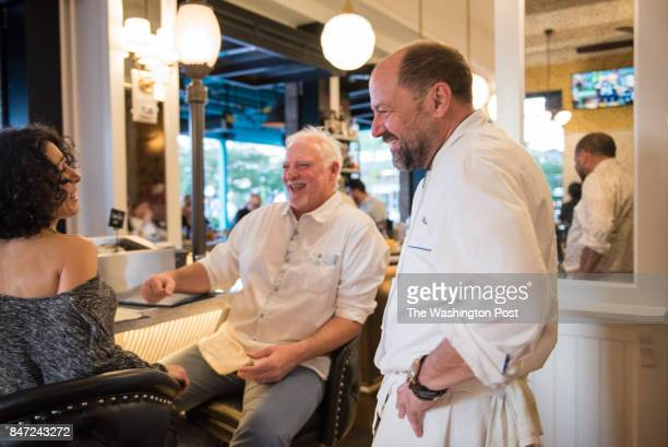 Chef Jeff Black talking with Mark Kendra Siegel loyal Black Restaurant Group patrons that were dining at their fifth location in the last seven days...