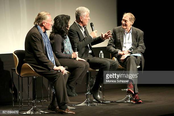 Chef Jeremiah Tower, producer Lydia Tenaglia, executive producer Anthony Bourdain and TV host Charlie Rose speak on stage at the Tribeca Talks After...