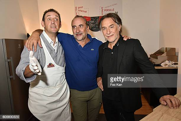 Chef Jocelyn Chabauty, actor Antoine Dulery and actor Richard Berry attend the 'Charal' 30th Anniversary Pop Up Store Opening Party at Rue des Halles...