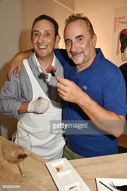 Chef Jocelyn Chabauty and ctor Antoine Dulery attend the 'Charal' 30th Anniversary Pop Up Store Opening Party at Rue des Halles on September 14, 2016...