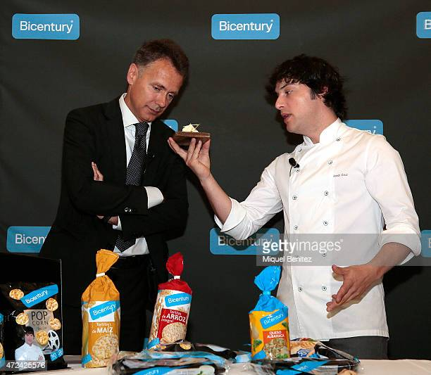 Chef Jordi Cruz and Josep Arcas present Bicentury Product at Abac Restaurant on May 7 2015 in Barcelona Spain