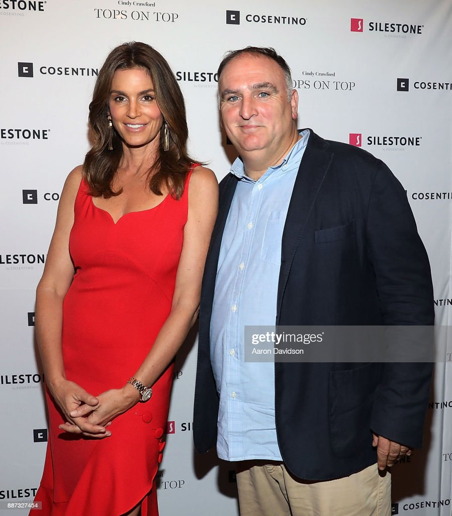 Chef Jose Andres and Cindy Crawford attend Art Basel Miami Beach 2017 - Eduardo Cosentino & Cindy Crawford Co-Host Exclusive Dinner With Chef Jose Andres at TATEL Miami on December 6, 2017 in Miami Beach, Florida.