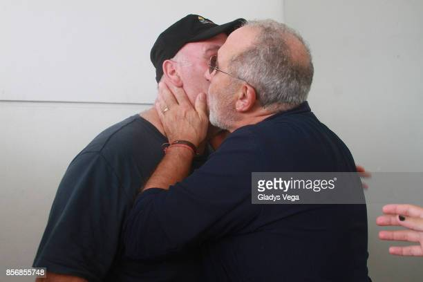 Chef Jose Andres and Emilio Estefan support victims of Hurricane Maria at Luis Munoz Marin International Airport on October 2 2017 in San Juan Puerto...