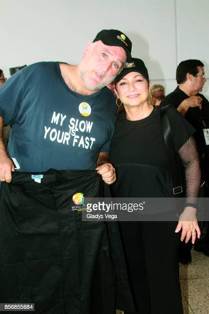 Chef Jose Andres and Gloria Estefan during a press conference supporting victims of Hurricane Maria at Luis Munoz Marin International Airport on...
