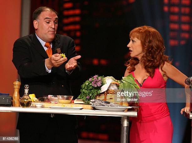 Chef Jose Andres and host Kathy Griffin perform on stage during Bravo's First AList Awards show on June 4 2008 at Hammerstein Ballroom in New York