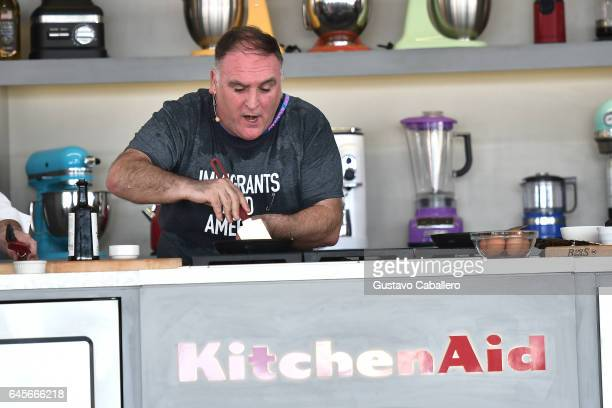 Chef Jose Andres leads a cooking demonstration on stage at Goya Foods' Grand Tasting Village Featuring Mastercard Grand Tasting Tents KitchenAid...