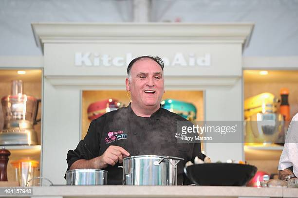 Chef Jose Andres prepares food onstage at Whole Foods Market Grand Tasting Village featuring MasterCard Grand Tasting Tents KitchenAid Culinary...