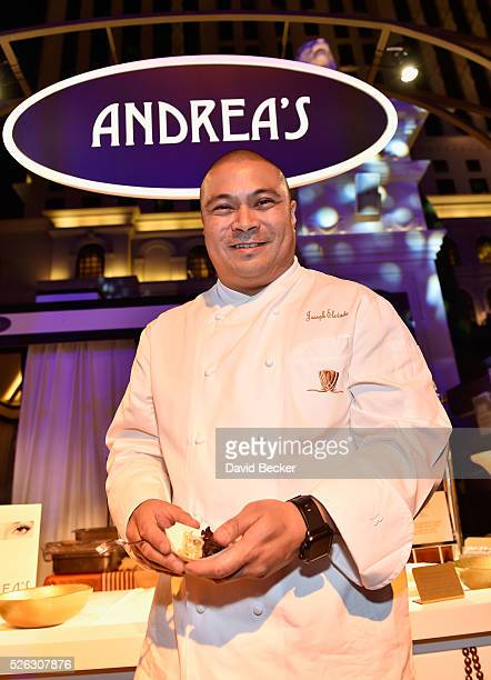 Chef Joseph Elevado serves thai style marinated snake river farms wagyu beef at the Andrea's booth during Vegas Uncork'd by Bon Appetit presented by...