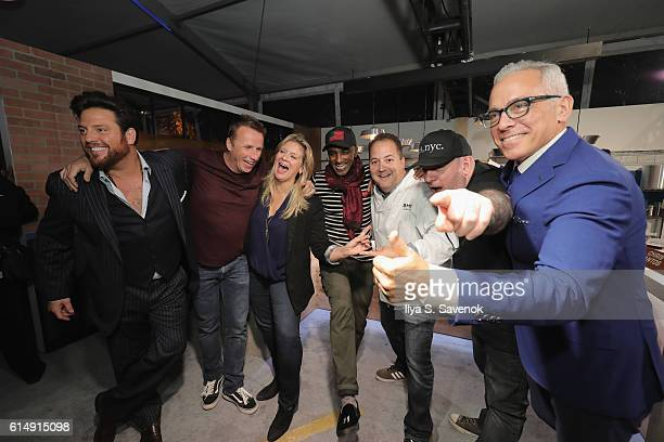 Chef Josh Capon and Chopped judges Scott Conant Marc Murphy Amanda Freitag Marcus Samuelsson Chris Santos and Geoffrey Zakarian attend Rooftop...