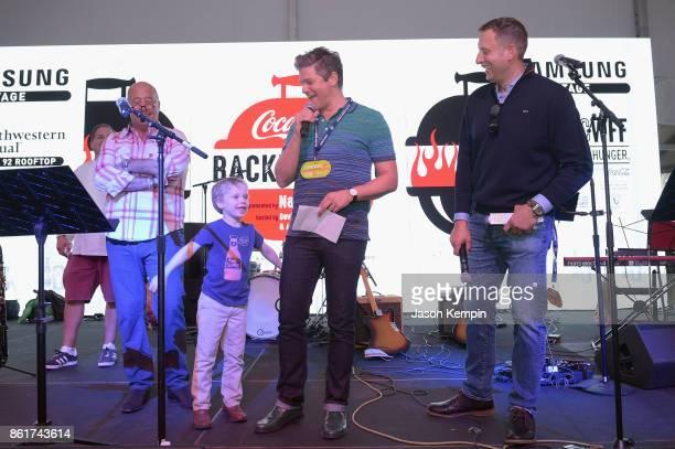 Chef Josh Capon Host Andrew Zimmern Gideon Scott BurtkaHarris Hosts David Burtka and Pat LaFrieda on stage on stage at the Food Network Cooking...