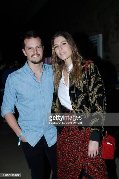 """Chef Juan Arbelaez and TV Host Laury Thilleman attend the launch of Evian and Virgil Abloh's limitededition """"One Drop can make a Rainbow"""" collection..."""