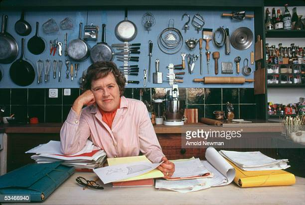Chef Julia Child poses in the kitchen of her house, La Pitchoune, during a photo shoot for McCall's Magazine on June 29, 1970 in Provence, the South of France.