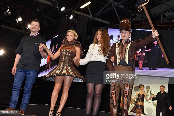 Chef, Kelly Vedovelli , a stylist and Jean Philippe Doux attend the 'Salon Du Chocolat - Chocolate Fair -: 20th Anniversary' At the Parc des...