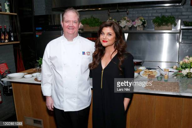 Chef Kevan Vetter and Tiffani Thiessen attend the Gourmet Garden Time Savor event hosted by Tiffani Thiessen at Amali on January 29 2020 in New York...