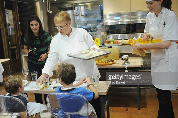 Chef Lidia Bastianich demonstrates familyfriendly recipes at the Grana Padano Healthy Eating for Kids with Lidia Bastianich event at Eataly on...
