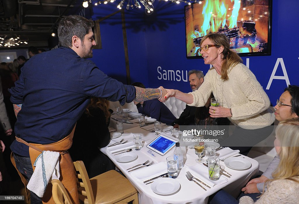 Chef Ludo Lefebvre and actress Allison Janey attend The Samsung Galaxy Lounge Hosts Cast Dinners for 'Touchy Feely' and 'We Are What We Are' at Village At The Lift 2013 on January 18, 2013 in Park City, Utah.