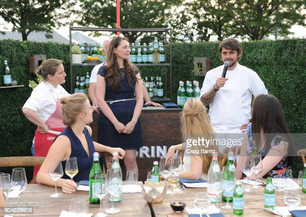 Chef Ludo Lefebvre speaks during SPellegrino Taste Guide Event With Chefs April Bloomfield Ludo Lefebvre at Hudson River Park at Pier 46 on June 29...