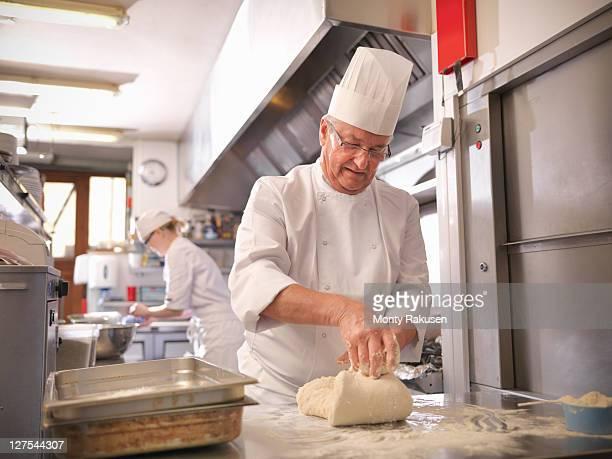 Chef making bread in restaurant kitchen