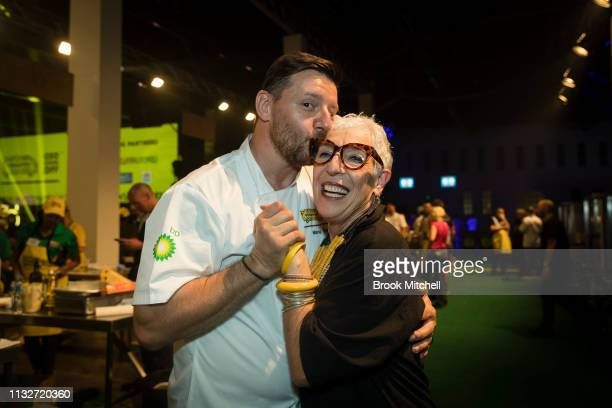 Chef Manu Feidel poses with Ronni Kahn during the OzHarvest CEO Cookoff on March 25 2019 in Sydney Australia