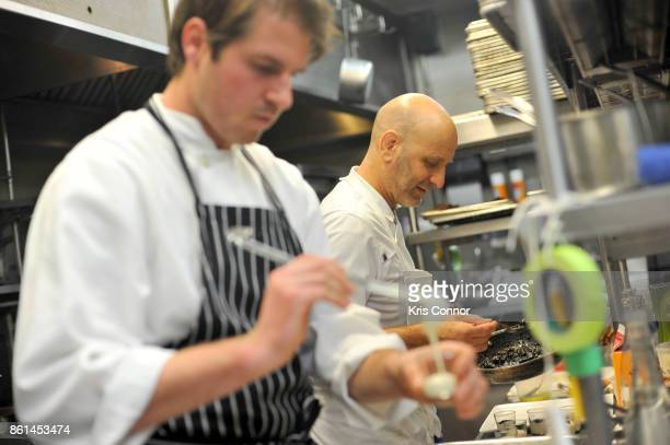 Chef Marc Vetri prepares dishes in the kitchen during a Dinner with Paul Kahan and Marc Vetri part of the Bank of America Dinner Series presented by...