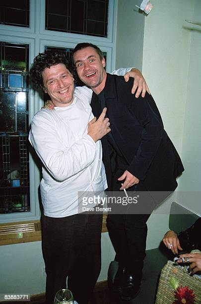 Chef Marco Pierre White with artist Damien Hirst at Hirst's book launch held at Quo Vadis restaurant in London 9th September 1997