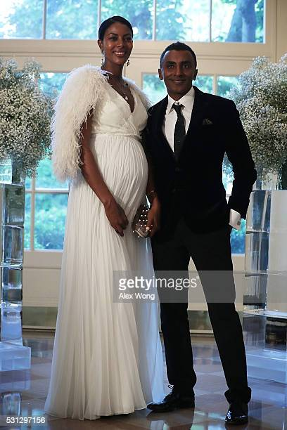 Chef Marcus Samuelsson and his wife Maya arrive at a Nordic State Dinner May 13 2016 at the White House in Washington DC President Barack Obama and...