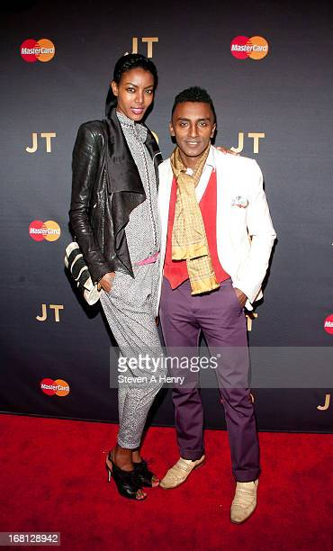 Chef Marcus Samuelsson and his wife Maya Haile arrive at MasterCard Priceless Premieres Presents Justin Timberlake Roseland Ballroom on May 5 2013 in...