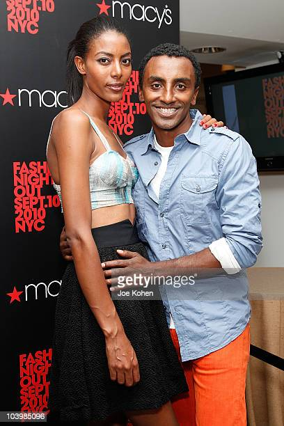 Chef Marcus Samuelsson and wife model Maya Haile attend the Macy's celebration of Fashion's Night Out at Macy's Herald Square on September 10 2010 in...