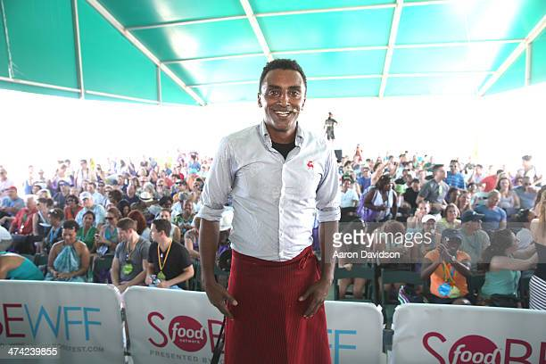 Chef Marcus Samuelsson attends KitchenAid® Culinary Demonstrations during the Food Network South Beach Wine Food Festival at Grand Tasting Village on...