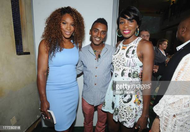 Chef Marcus Samuelsson pose with Tennis Players Venus Williams and Serena Williams at the 14th Annual BNP Paribas Taste Of Tennis at W New York Hotel...