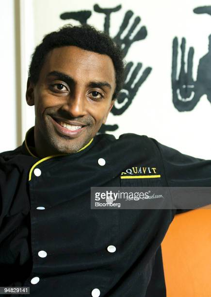 Chef Marcus Samuelsson smiles during a portrait session at his restaurant AQUAVIT in New York Thursday February 24 2005