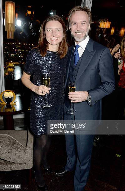 Chef Marcus Wareing and his wife Jane Wareing attend a private dinner celebrating the opening of the OMEGA Oxford Street boutique at Aqua Shard on...