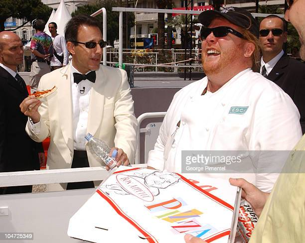 """Chef Mario Batali, , & Matt Lauer during Cannes 2002 - """"Bon Appetit"""" Chef Mario Batali Makes Red Carpet Pizza Delivery in Cannes, France."""