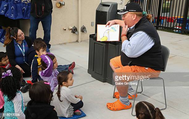 Chef Mario Batali reads Green Eggs and Ham by Dr Seuss to students and staff during the opening of the Books for Kids/Mario Batali Foundation Library...