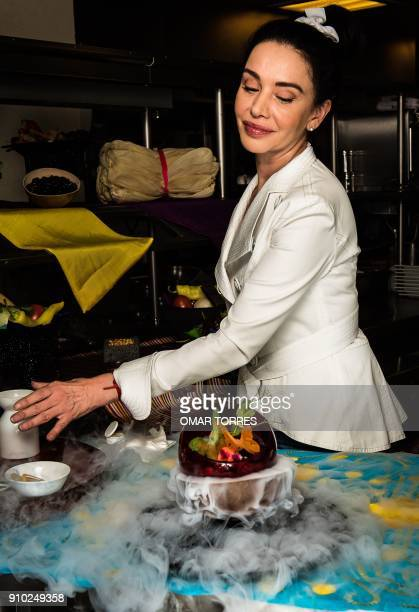 Chef Martha Ortiz prepares Vampire ceviche made with sangrita mango cured fish purple onion and coriander and decorated with pineapple butterflies...