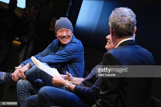 Chef Masa Takayama speaks during a screening of 'Anthony Bourdain Parts Unknown Japan with Masa' at Samsung 837 on November 7 2016 in New York City...