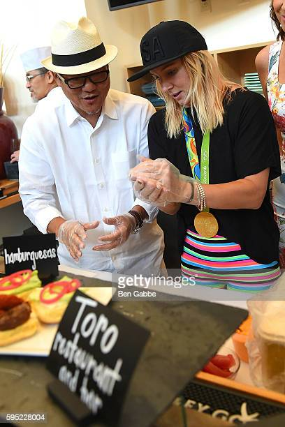 Chef Masaharu Morimoto and Olympian Bethany Maddox Sands attend Celebrity Chefs Present 2016 US Open Food Tasting at USTA Billie Jean King National...
