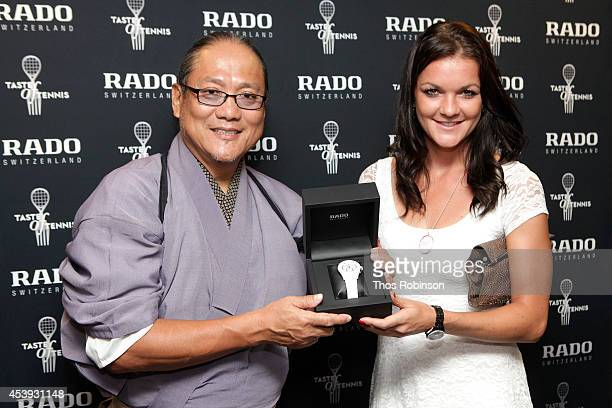 Chef Masaharu Morimoto and tennis player Agnieszka Radwanska attend Taste Of Tennis Week Taste Of Tennis Gala at the W New York on August 21 2014 in...