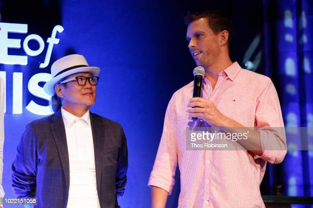 Chef Masaharu Morimoto and tennis player Mike Bryan speak onstage during the Citi Taste Of Tennis gala on August 23 2018 in New York City