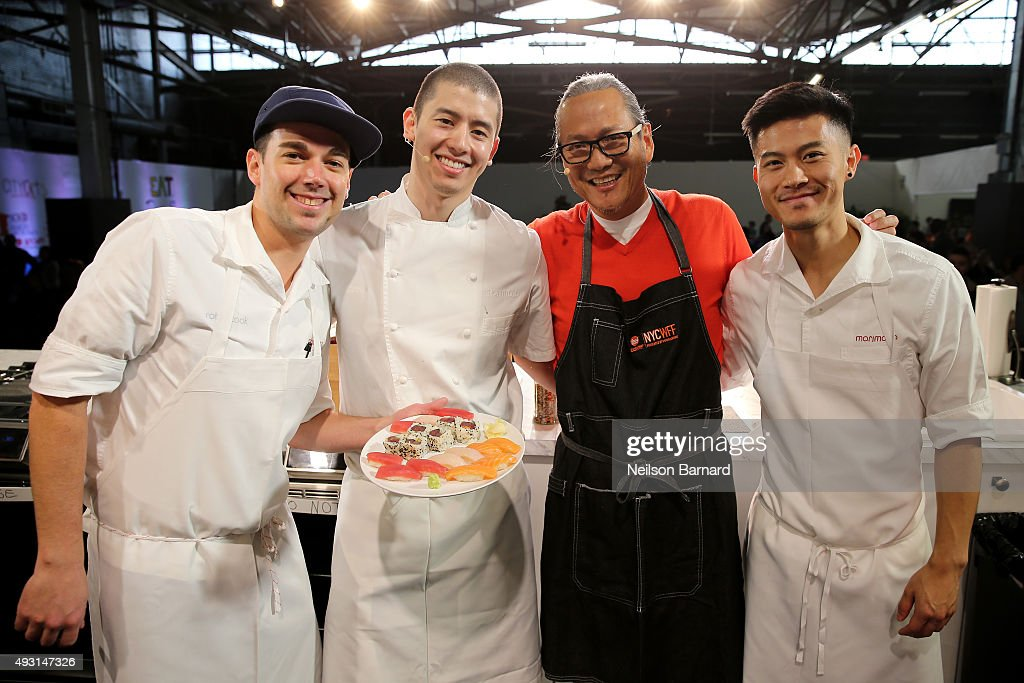 Chef Masaharu Morimoto (Second R)attends the Grand Tasting presented by ShopRite featuring Samsung culinary demonstrations presented by MasterCard - Food Network & Cooking Channel New York City Wine & Food Festival presented by FOOD & WINE at Pier 94 on October 17, 2015 in New York City.
