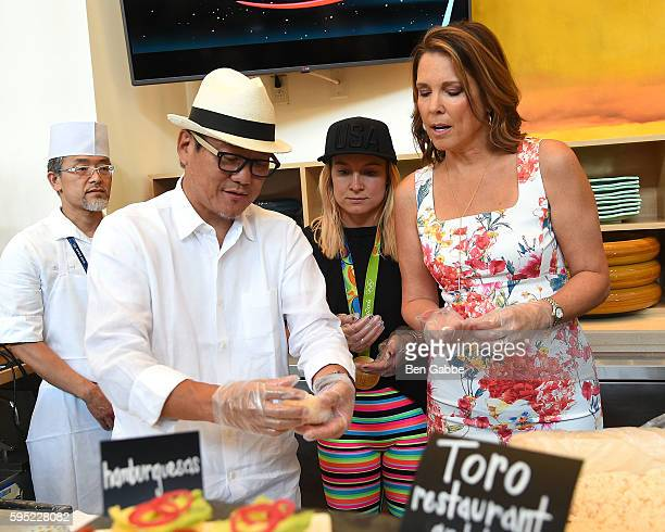 Chef Masaharu Morimoto Olympian Bethany Maddox Sands and Journalist Hannah Storm attend Celebrity Chefs Present 2016 US Open Food Tasting at USTA...