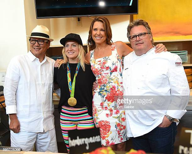 Chef Masaharu Morimoto Olympian Bethany Maddox Sands Journalist Hannah Storm and Chef David Burke attend Celebrity Chefs Present 2016 US Open Food...